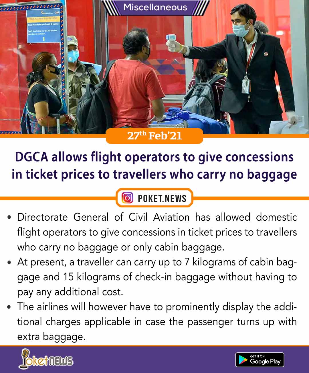 DGCA allows flight operators to give concessions in ticket prices to travellers who carry no baggage