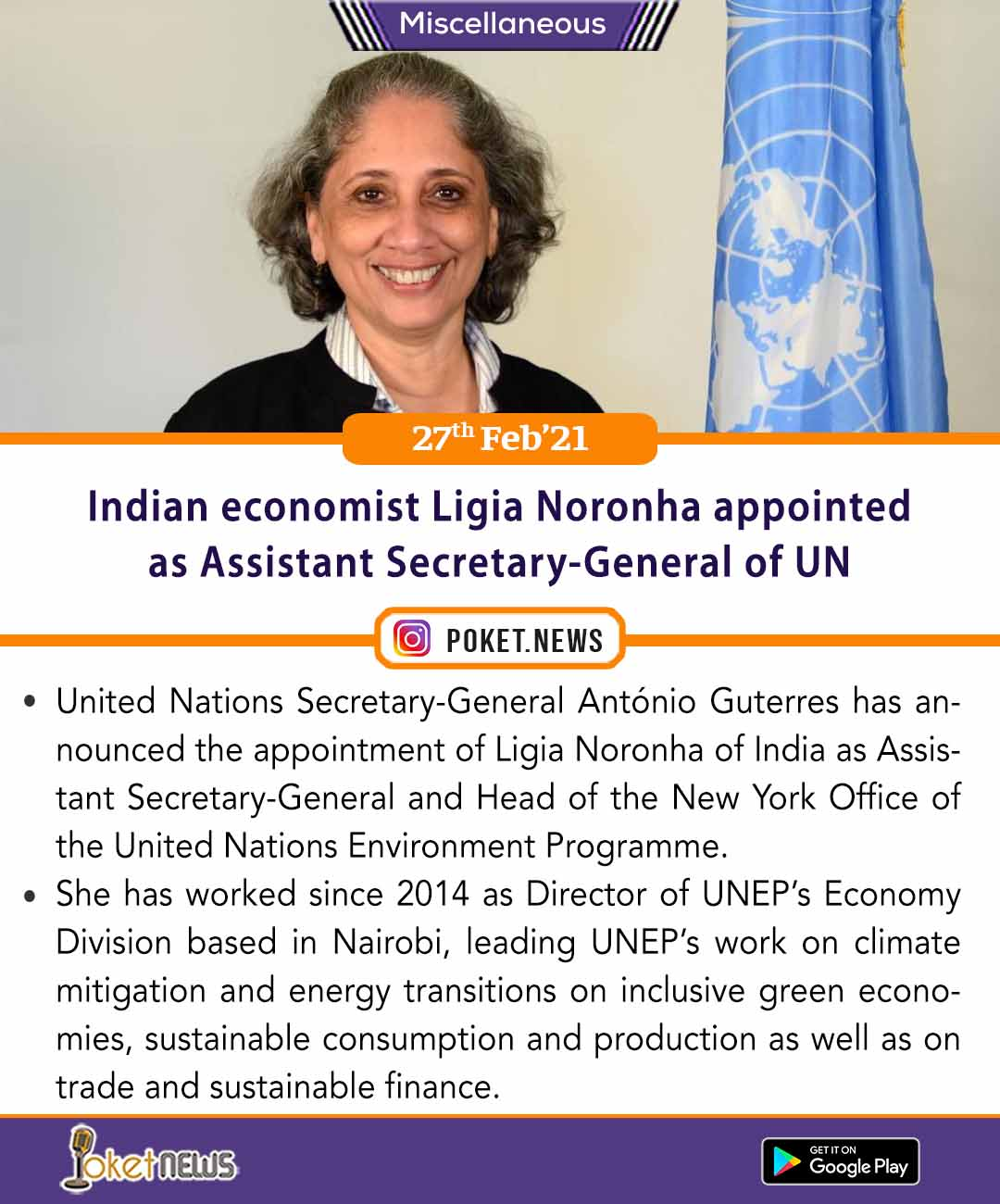 Indian economist Ligia Noronha appointed as Assistant Secretary-General of UN