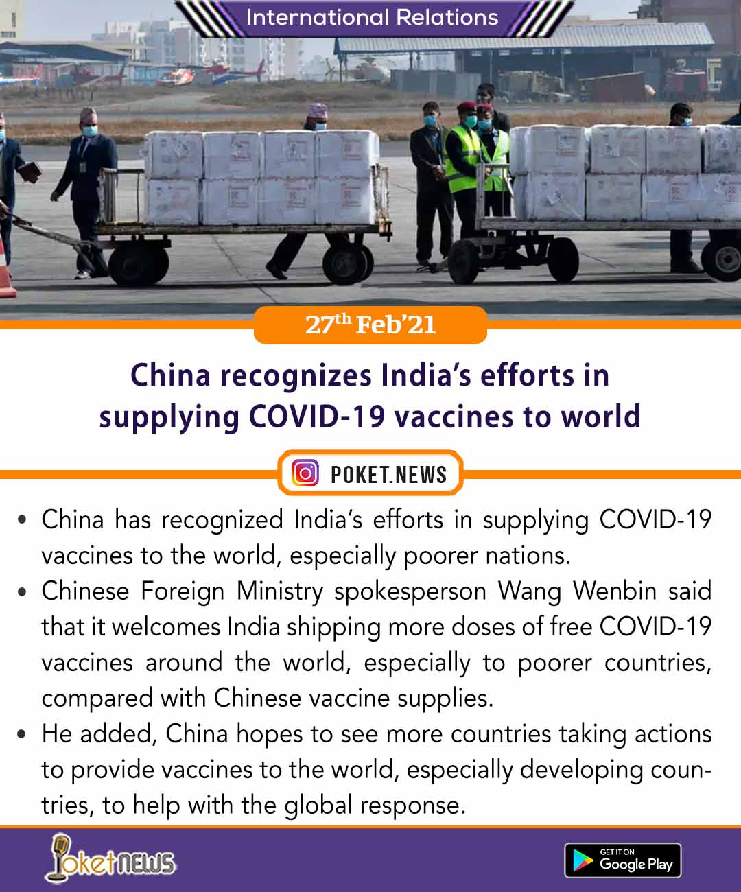 China recognizes India's efforts in supplying COVID-19 vaccines to world
