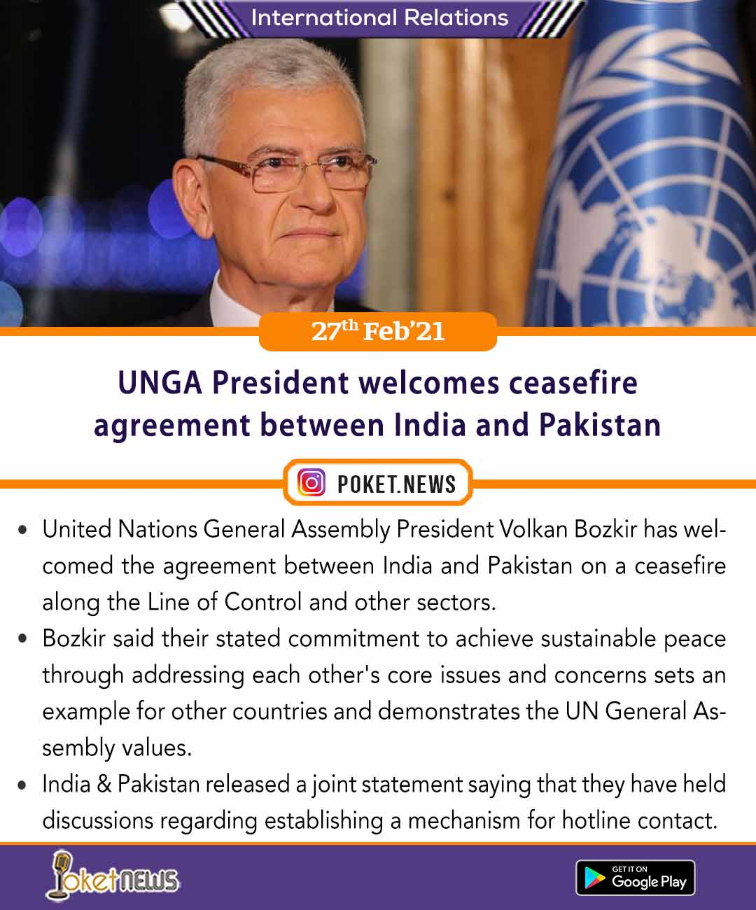 UNGA President welcomes ceasefire agreement between India and Pakistan