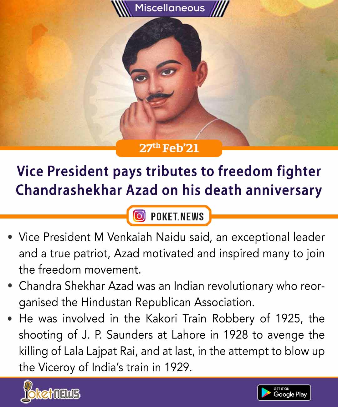 Vice President pays tributes to freedom fighter Chandrashekhar Azad on his death anniversary