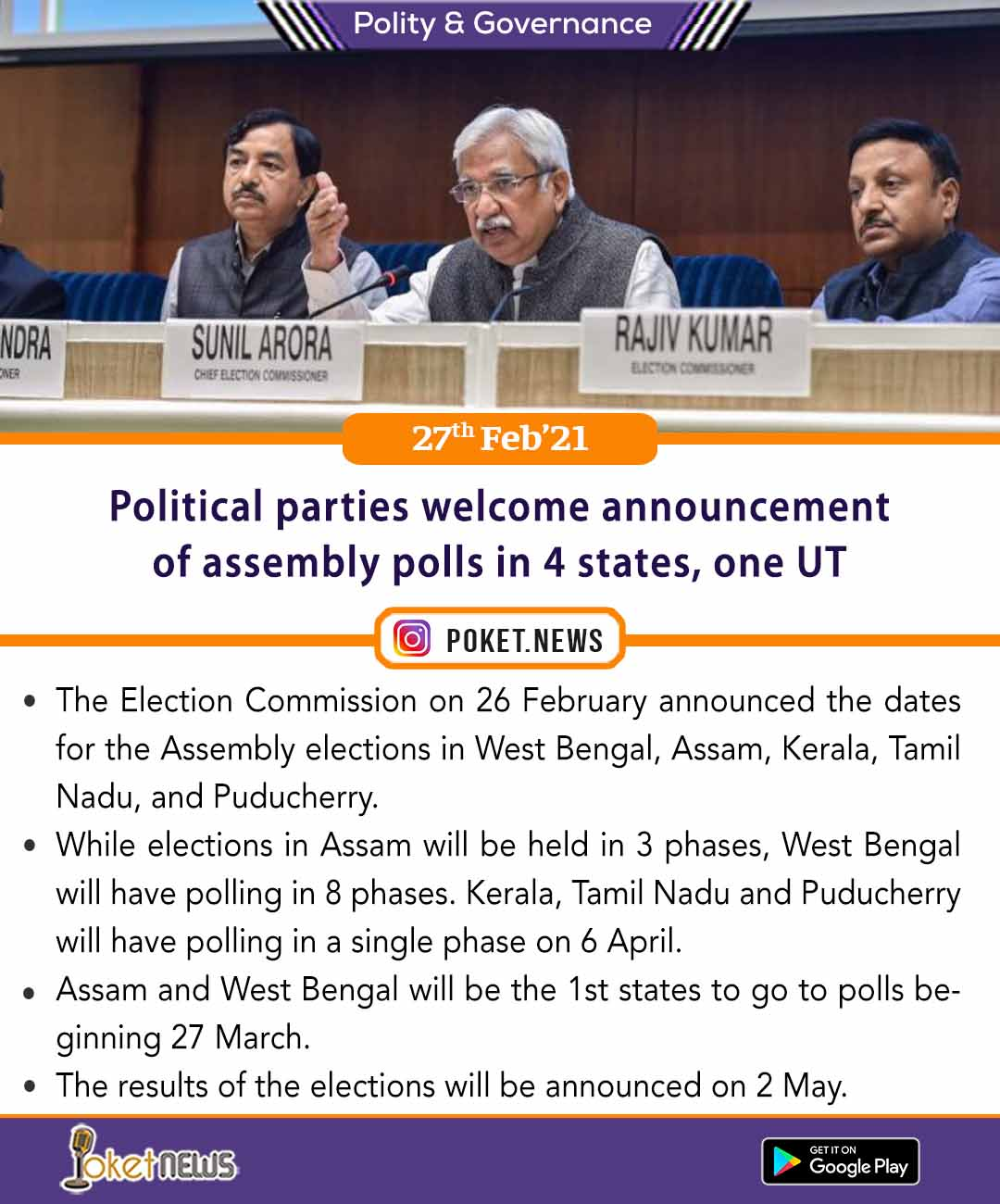 Political parties welcome announcement of assembly polls in 4 states, one UT