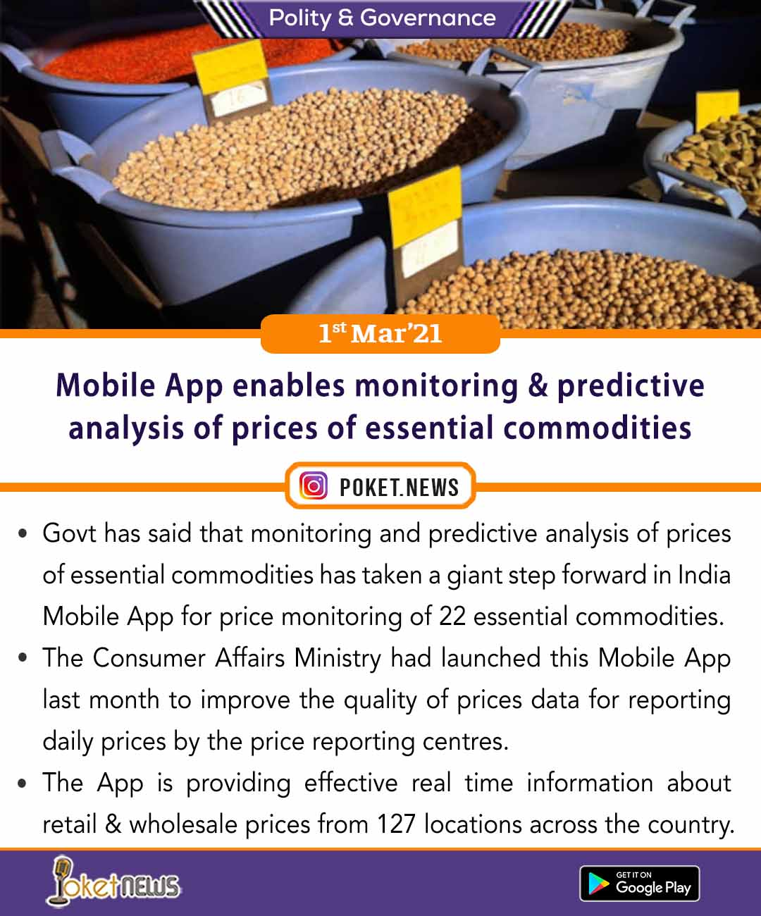 Mobile App enables monitoring and predictive analysis of prices of essential commodities