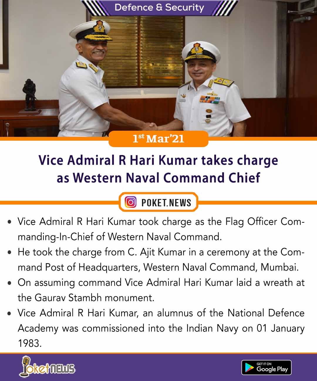 Vice Admiral R Hari Kumar takes charge as Western Naval Command Chief