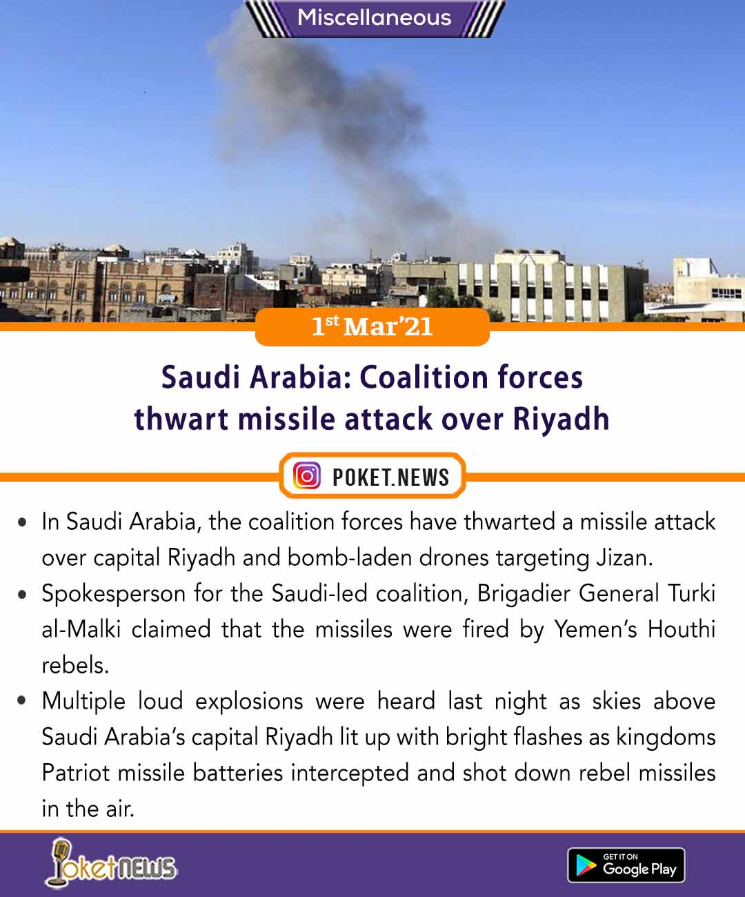 Saudi Arabia: Coalition forces thwart missile attack over Riyadh