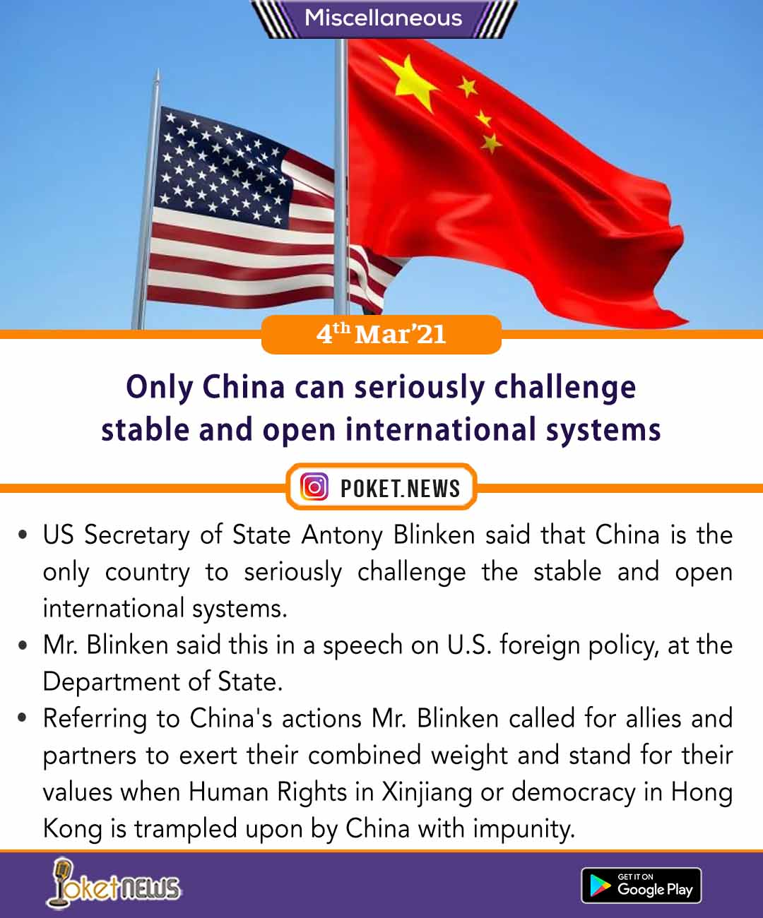 Only China can seriously challenge stable and open international systems