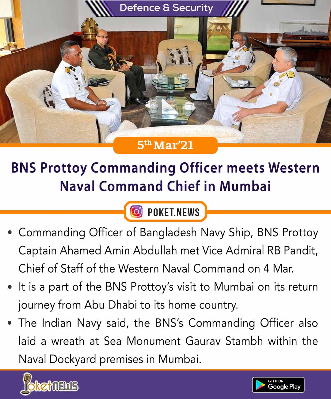 BNS Prottoy Commanding Officer meets Western Naval Command Chief in Mumbai