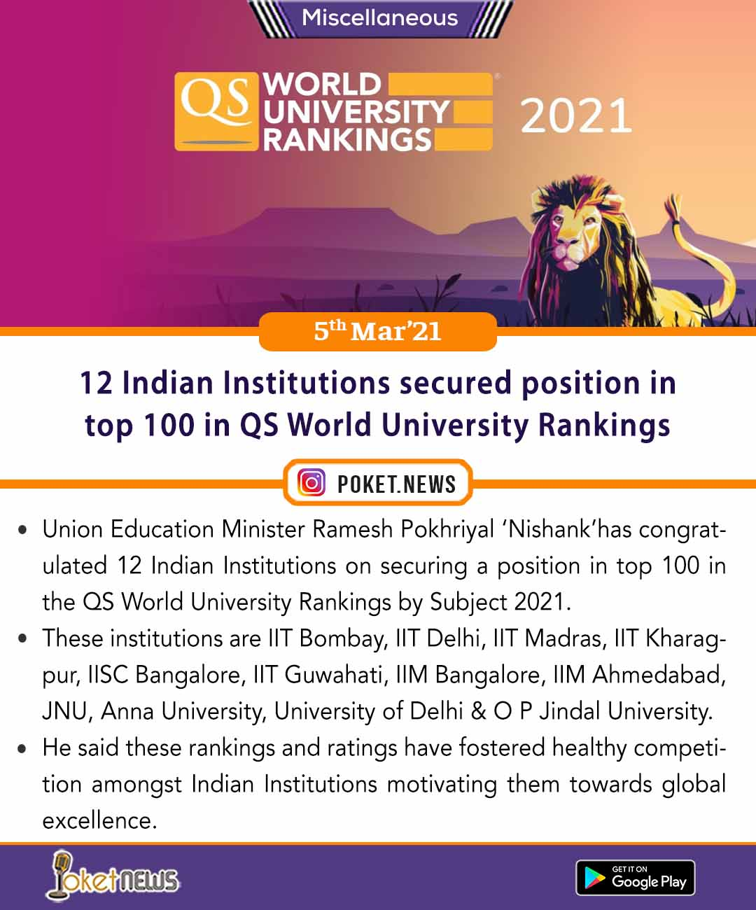 12 Indian Institutions secured position in top 100 in QS World University Rankings