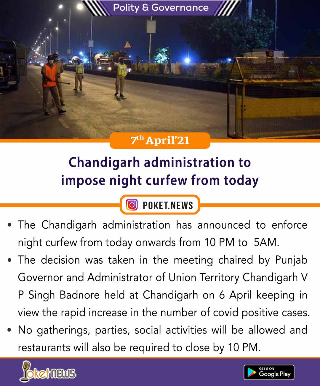 Chandigarh administration to impose night curfew from today
