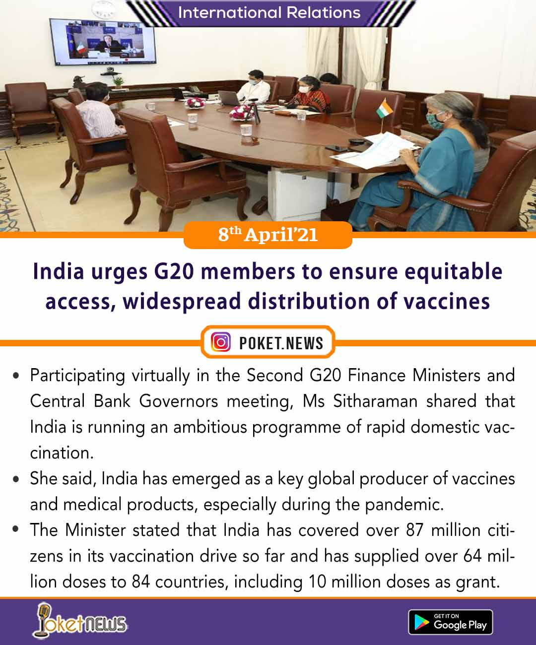 India urges G20 members to ensure equitable access, widespread distribution of vaccines