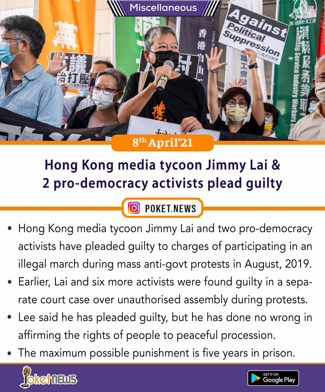 Hong Kong media tycoon Jimmy Lai and 2 pro-democracy activists plead guilty
