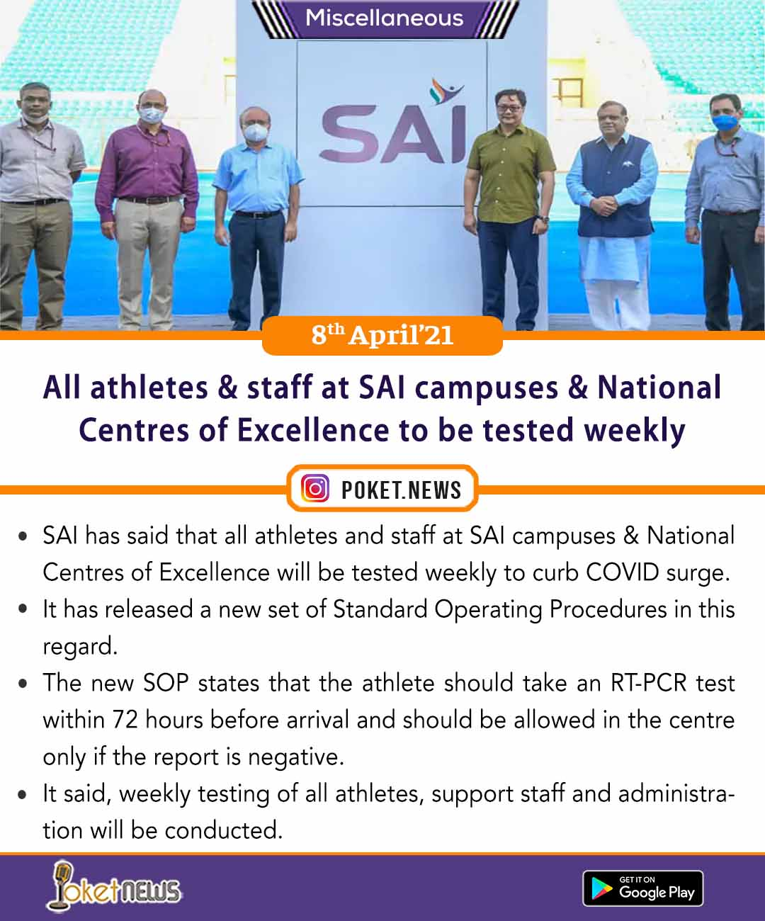 All athletes and staff at SAI campuses and National Centres of Excellence to be tested weekly