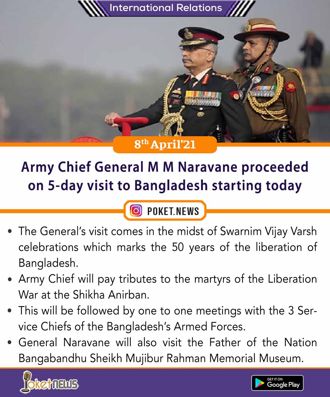 Army Chief General M M Naravane proceeded on 5-day visit to Bangladesh starting today