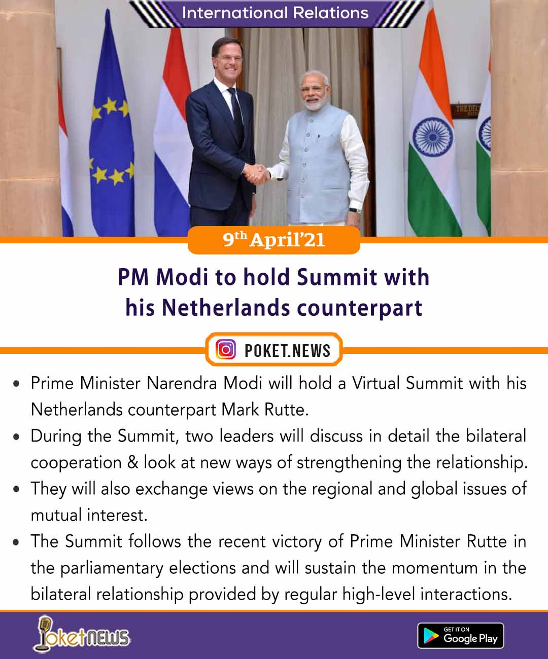 PM Modi to hold Summit with his Netherlands counterpart