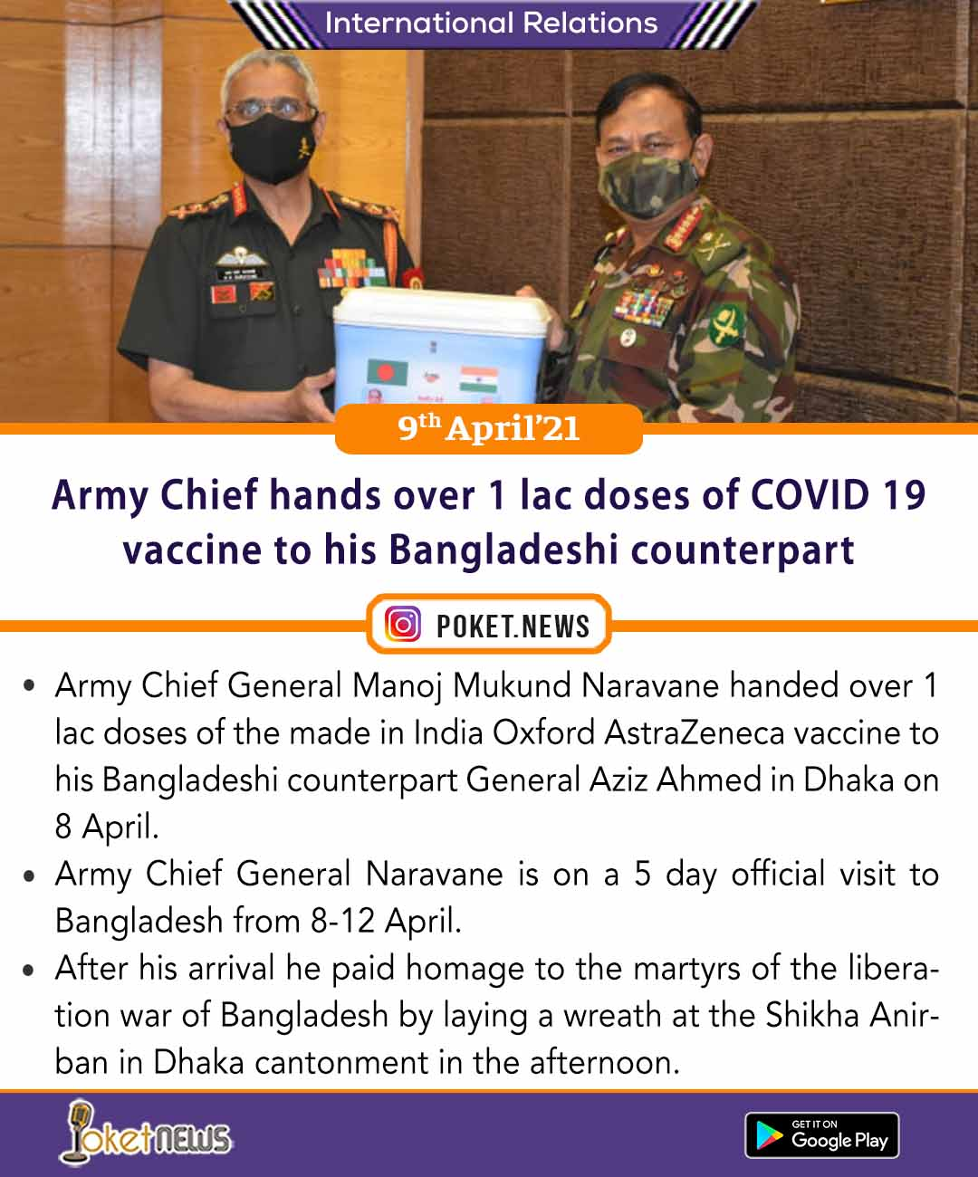 Army Chief hands over 1 lac doses of COVID 19 vaccine to his Bangladeshi counterpart