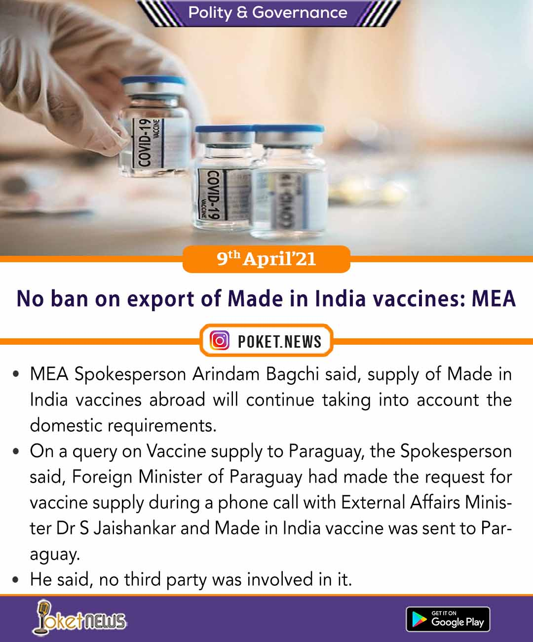 No ban on export of Made in India vaccines: MEA
