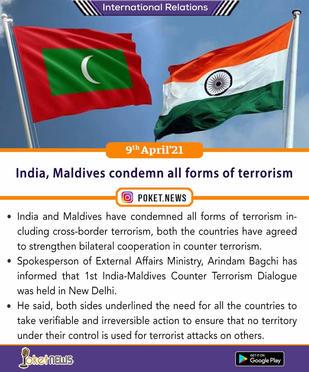 India, Maldives condemn all forms of terrorism