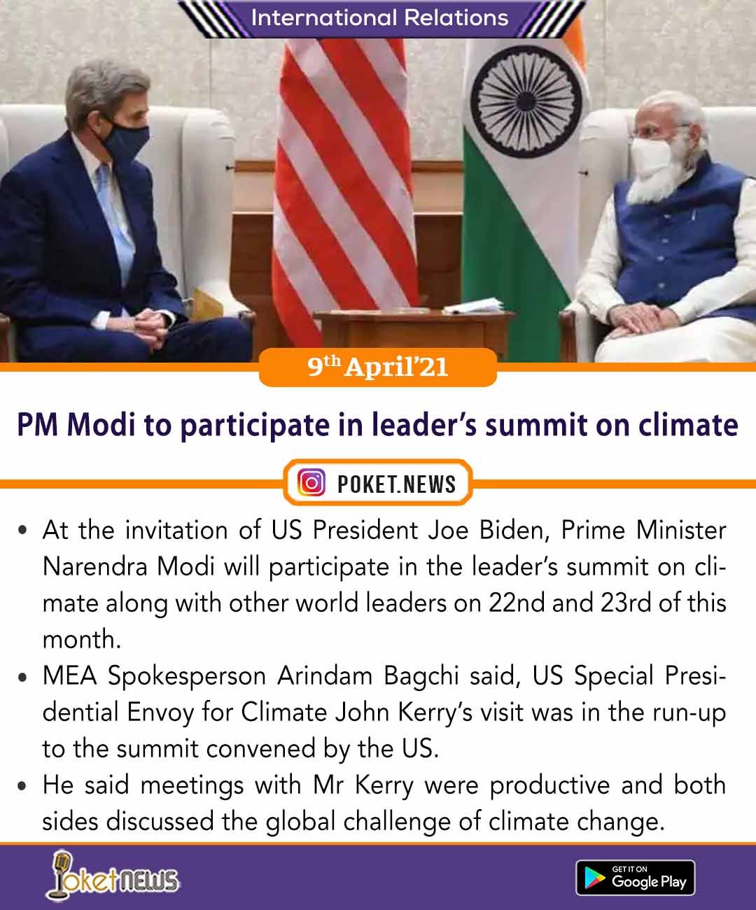 PM Modi to participate in leader's summit on climate