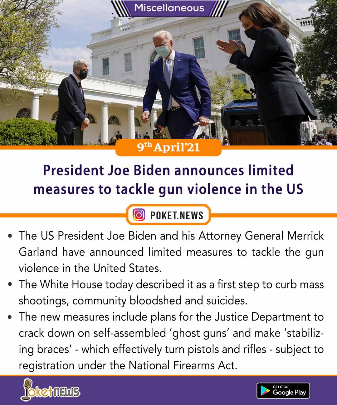 President Joe Biden announces limited measures to tackle gun violence in the US