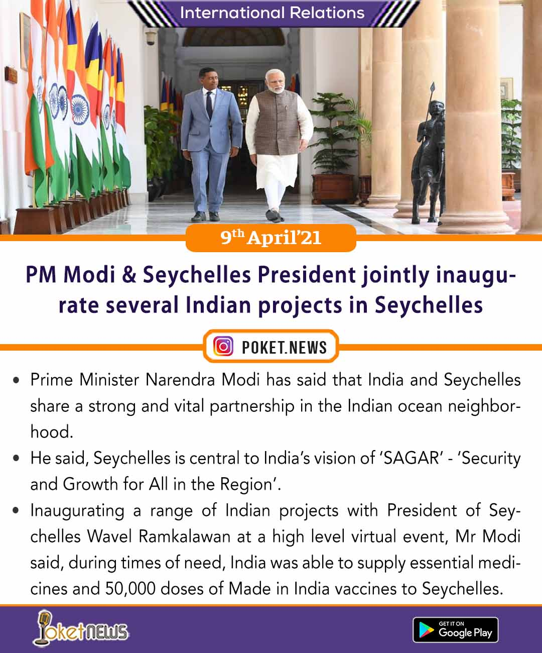 PM Modi & Seychelles President jointly inaugurate several Indian projects in Seychelles