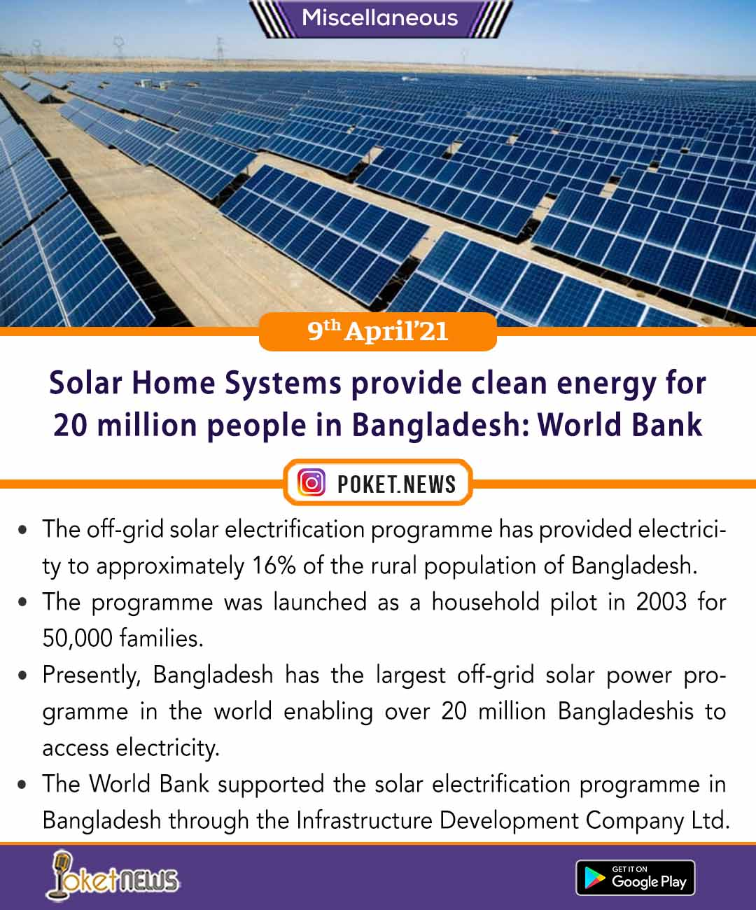 Solar Home Systems provide clean energy for 20 million people in Bangladesh: World Bank