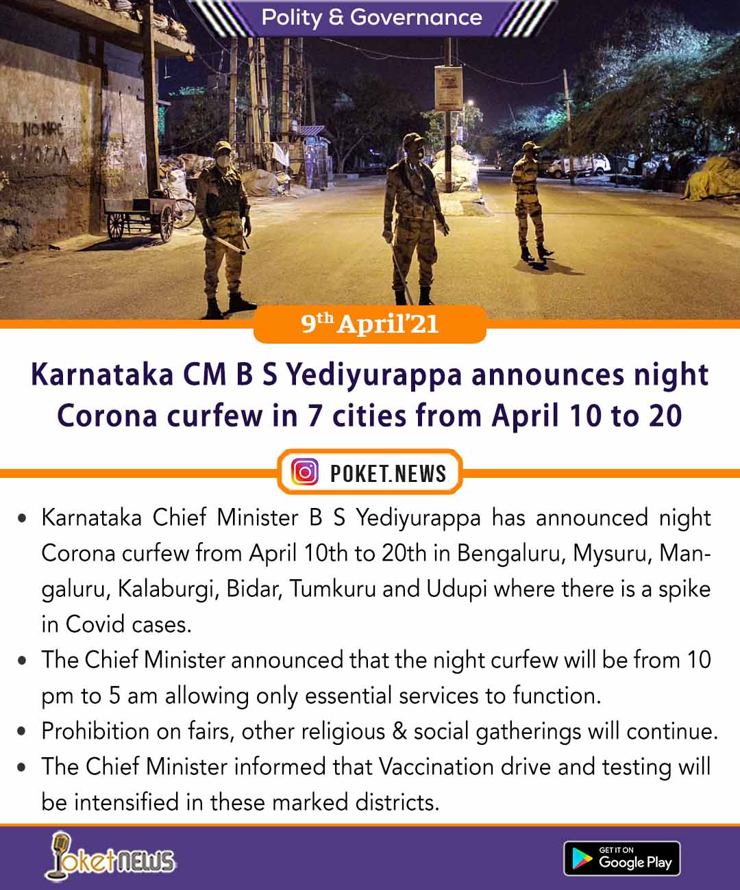 Karnataka CM B S Yediyurappa announces night Corona curfew in 7 cities from April 10 to 20