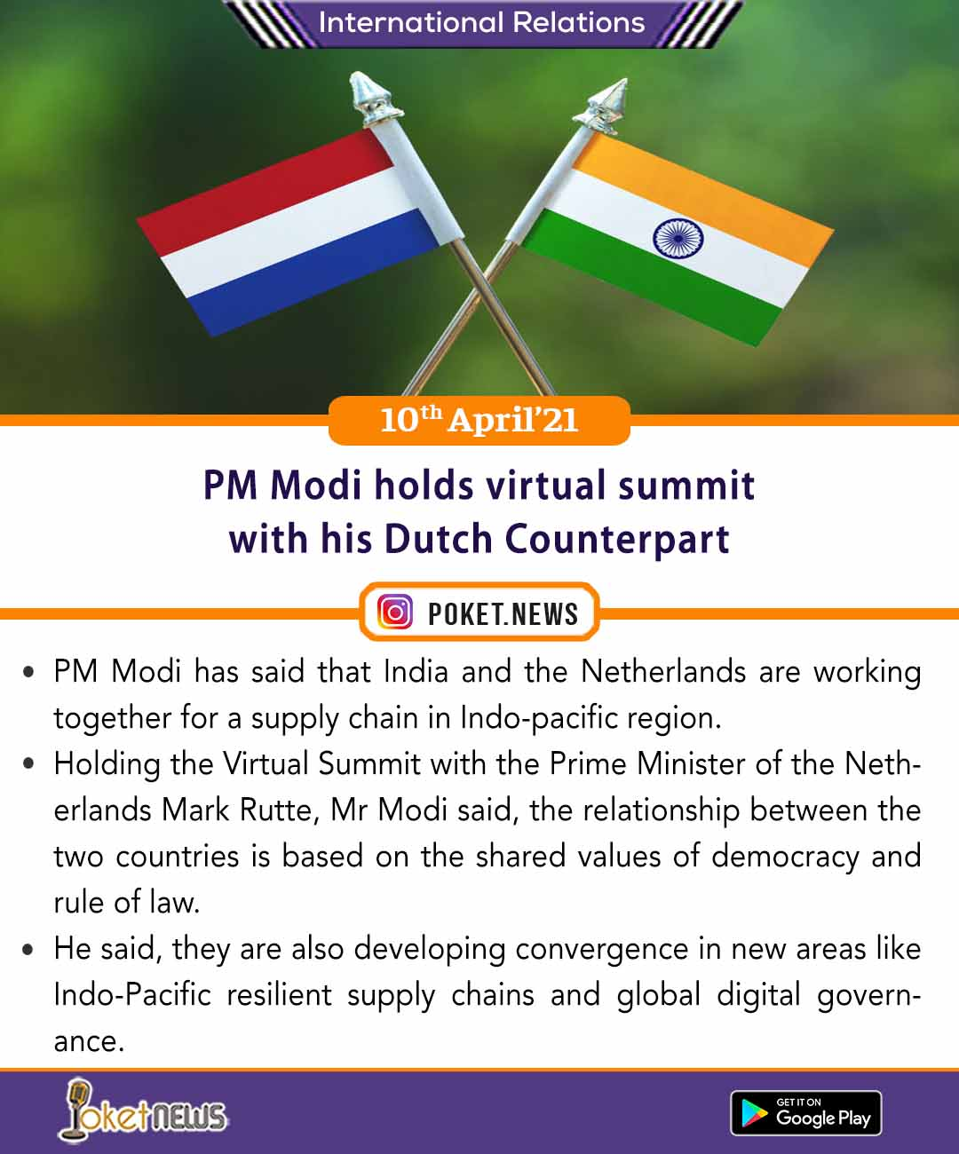 PM Modi holds virtual summit with his Dutch Counterpart