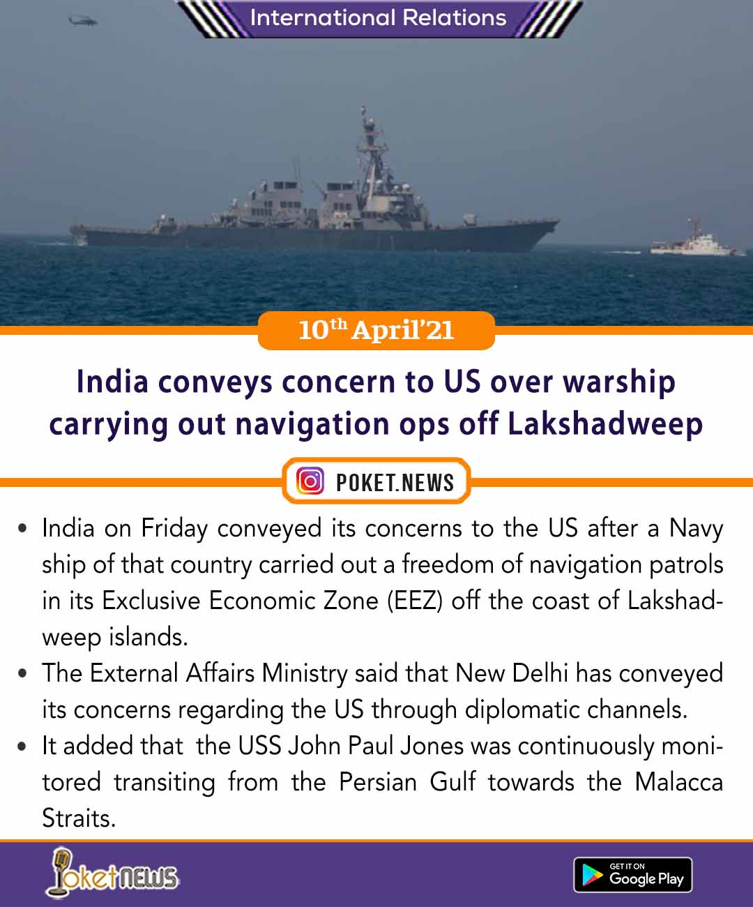 India conveys concern to US over warship carrying out navigation ops off Lakshadweep