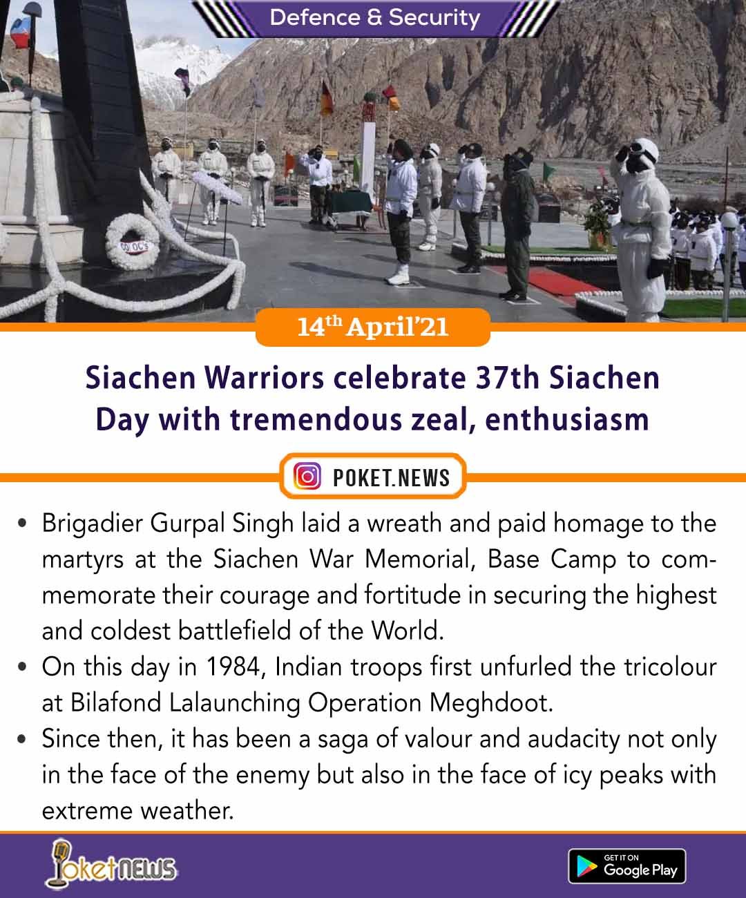 Siachen Warriors celebrate 37th Siachen Day with tremendous zeal, enthusiasm