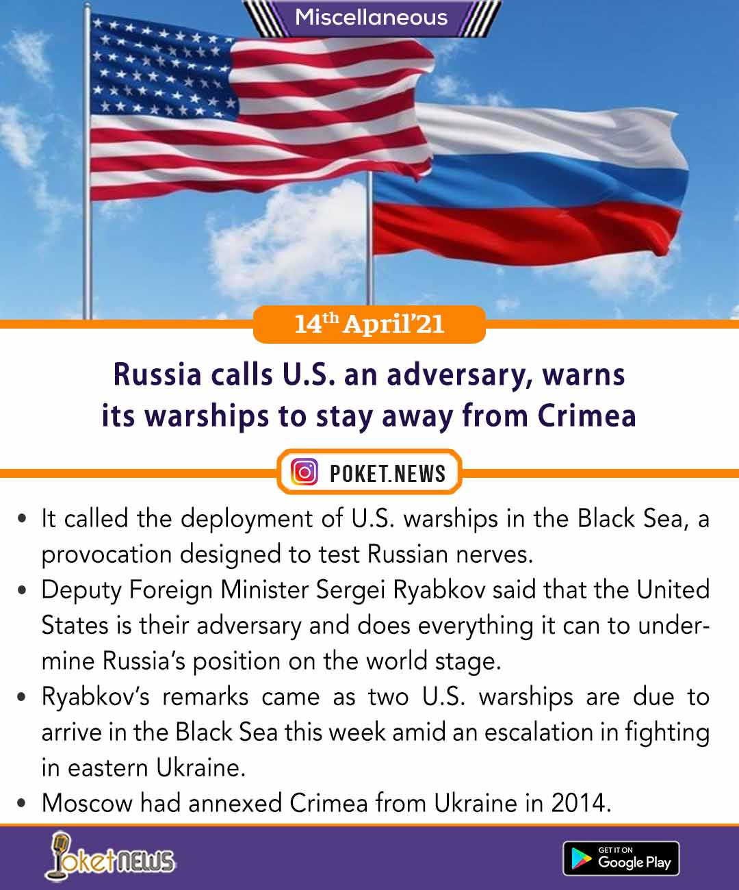 Russia calls U.S. an adversary, warns its warships to stay away from Crimea