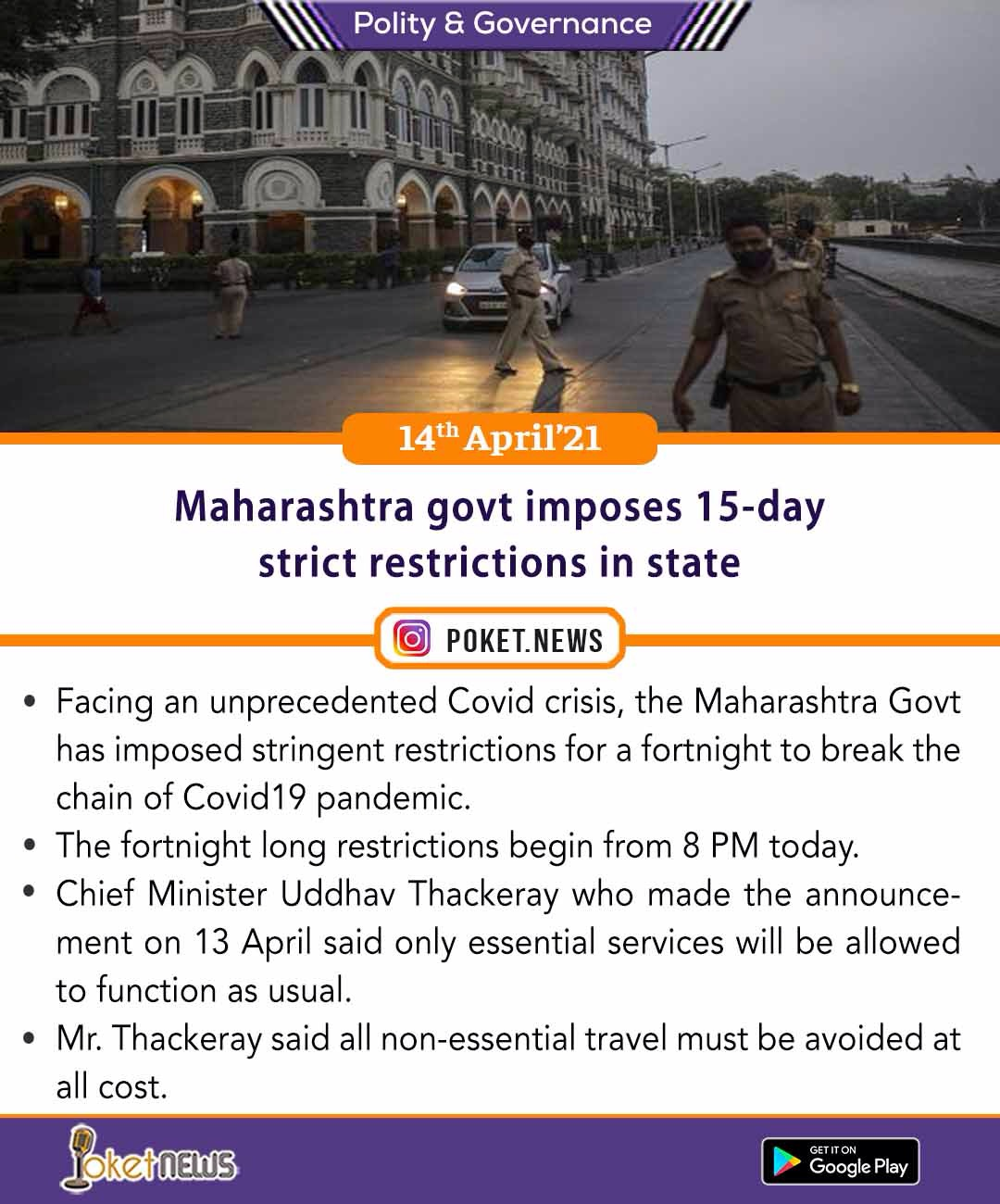 Maharashtra govt imposes 15-day strict restrictions in state