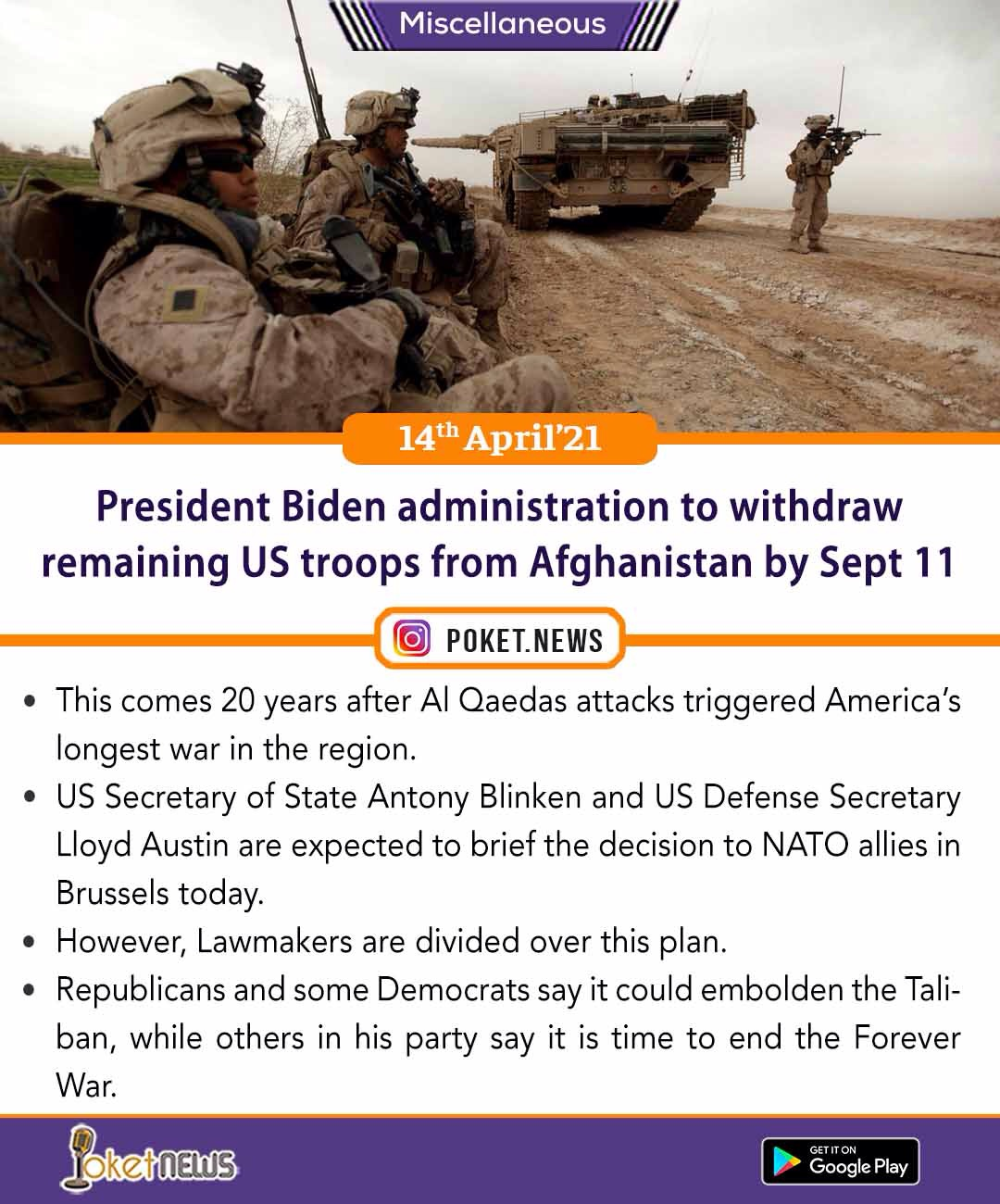 President Joseph Biden administration to withdraw remaining US troops from Afghanistan by Sept 11