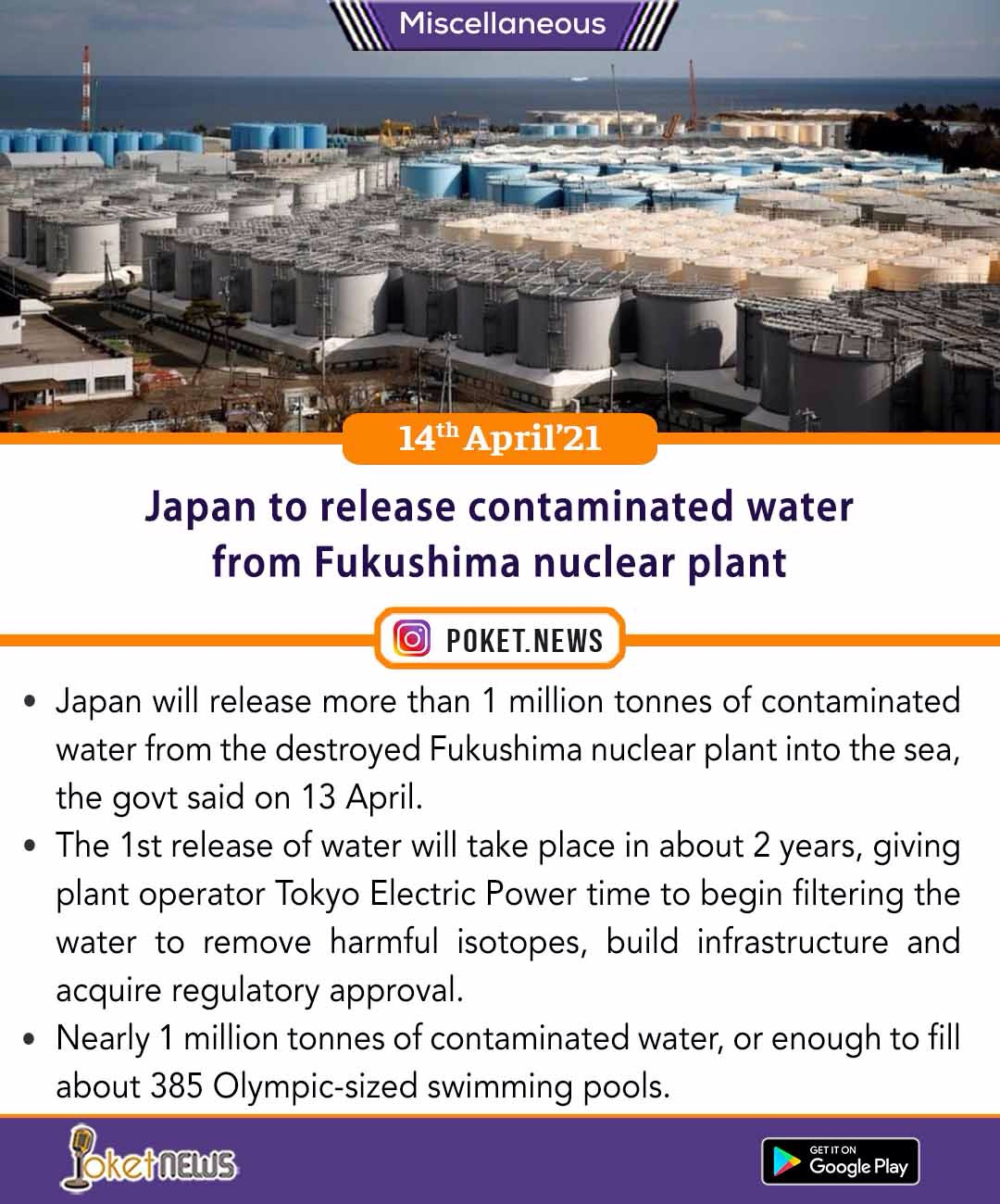 Japan to release contaminated water from Fukushima nuclear plant