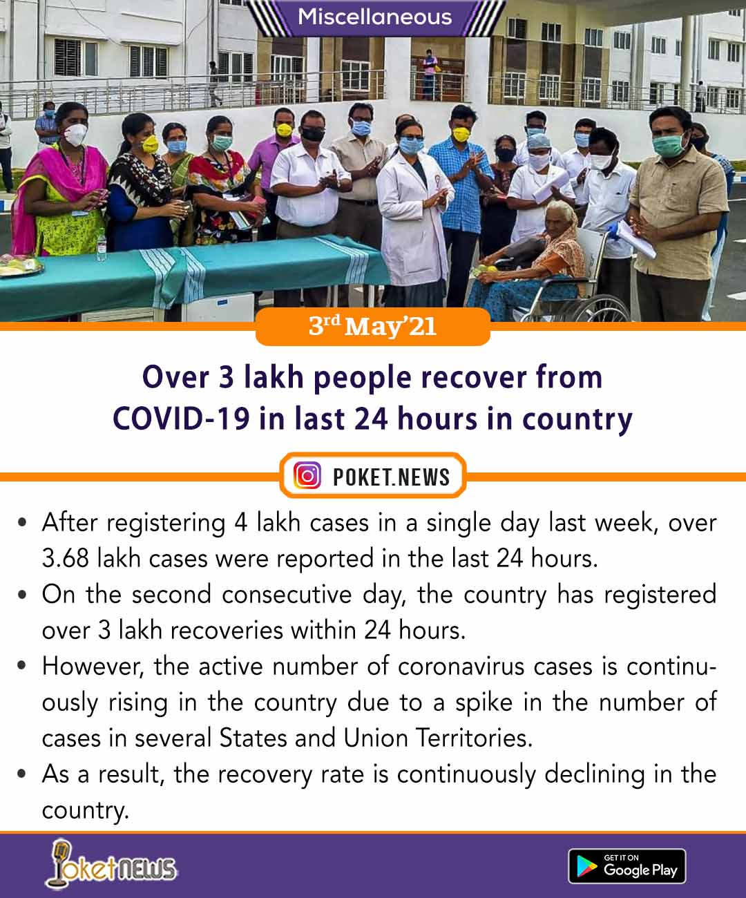 Over 3 lakh people recover from COVID-19 in last 24 hours in country