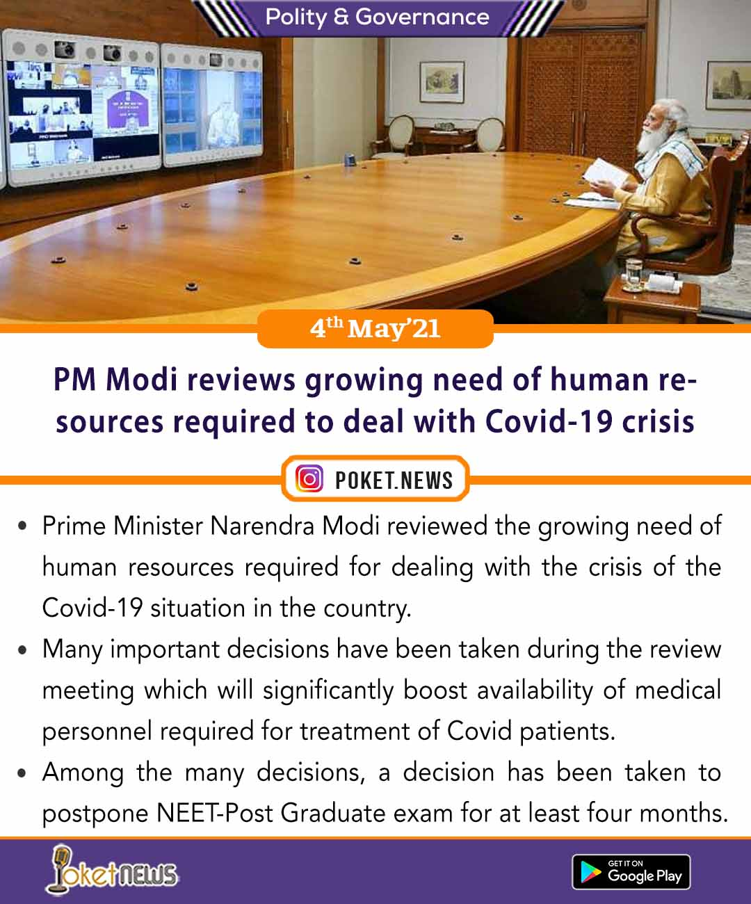 PM Modi reviews growing need of human resources required to deal with Covid-19 crisis