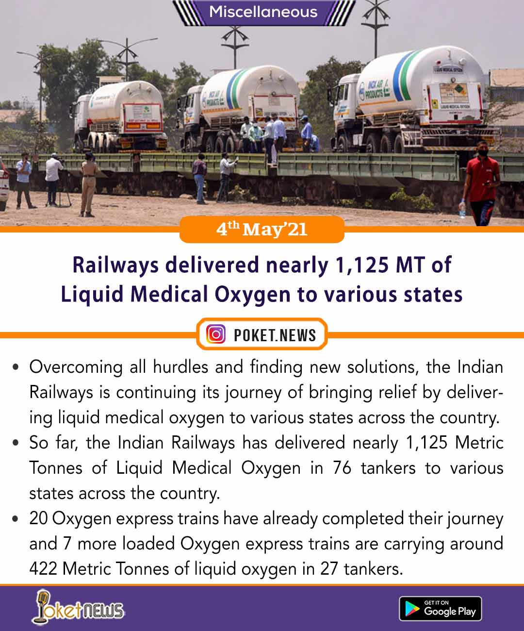 Railways delivered nearly 1,125 MT of Liquid Medical Oxygen to various states