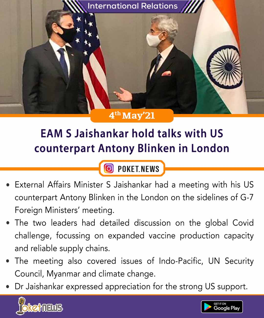 EAM S Jaishankar hold talks with US counterpart Antony Blinken in London