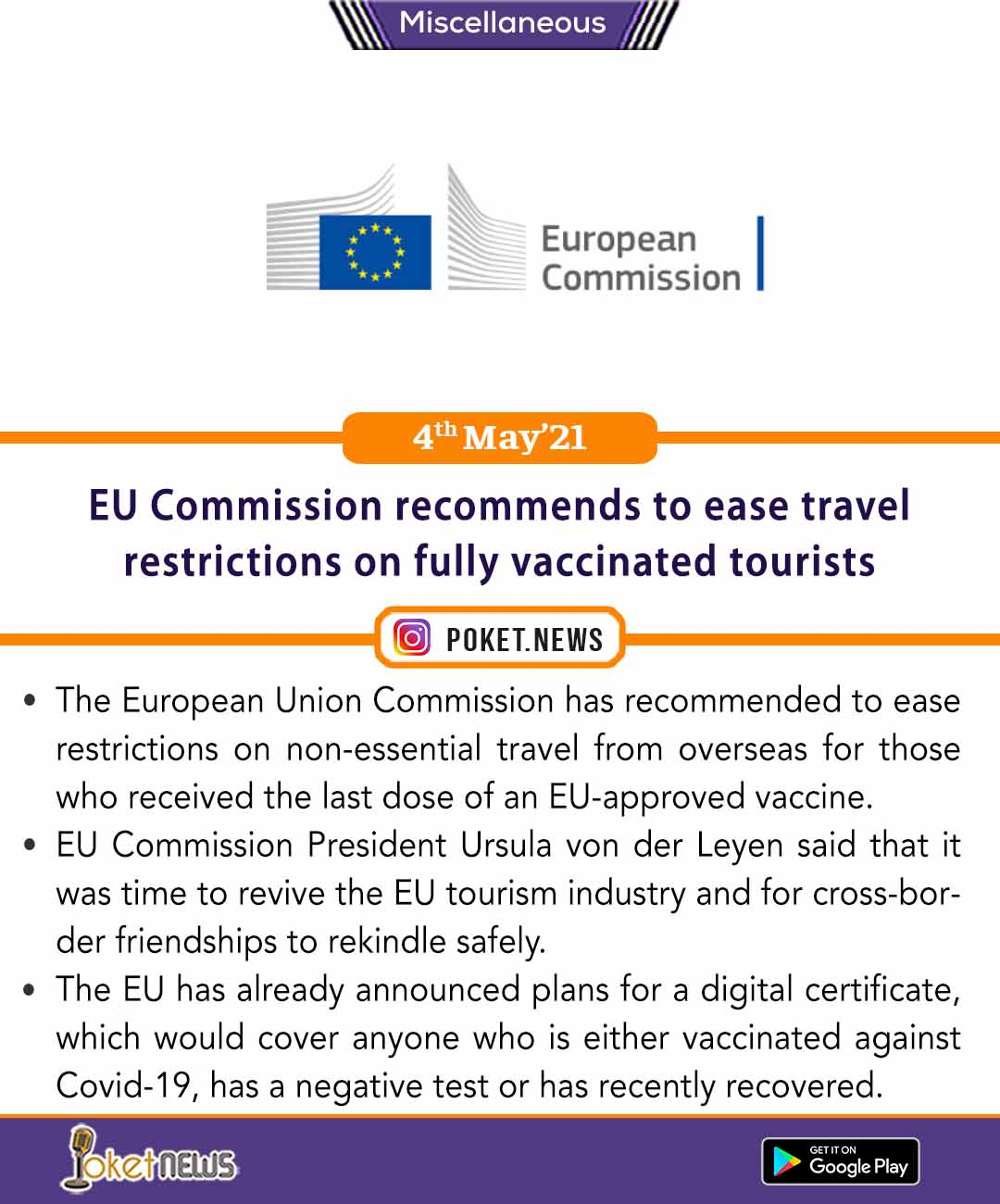 EU Commission recommends to ease travel restrictions on fully vaccinated tourists