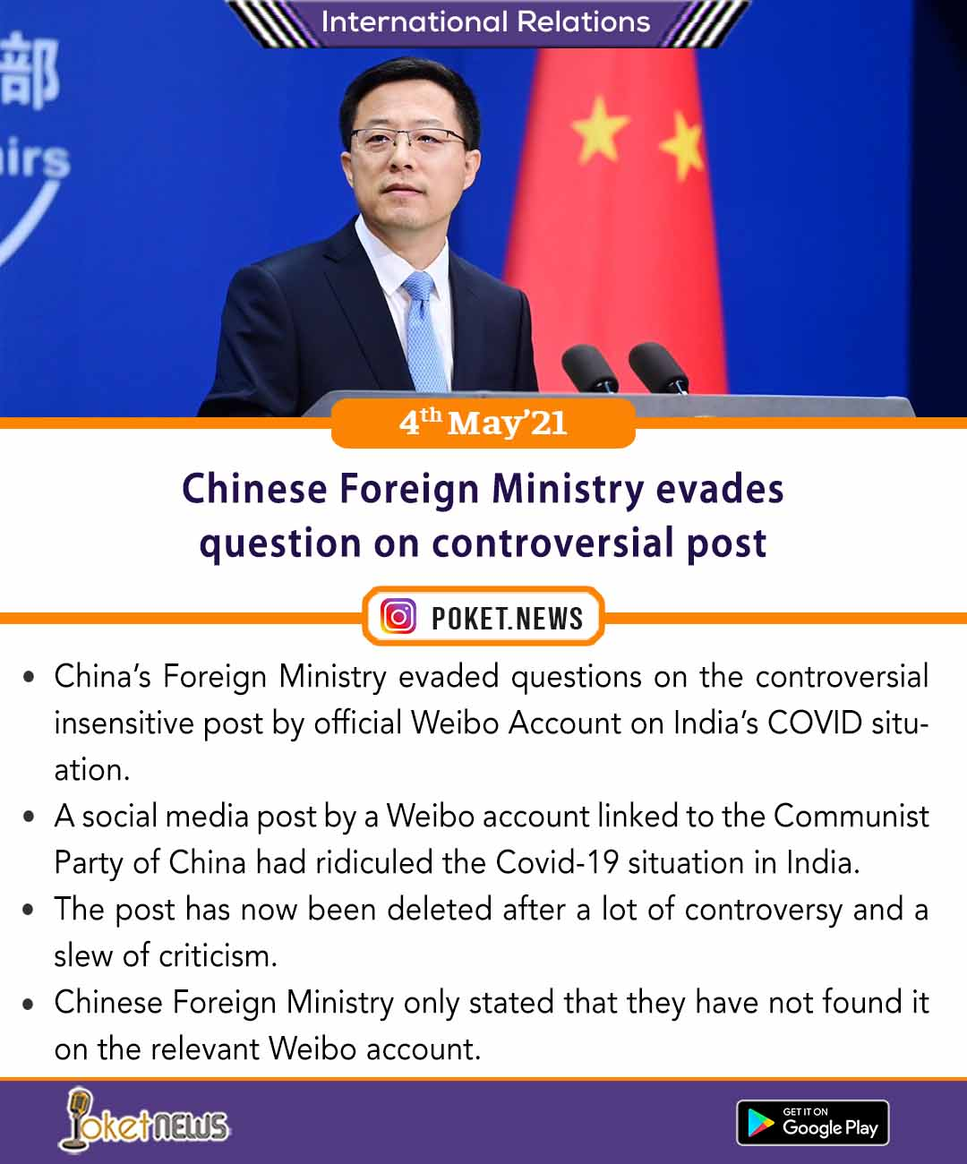 Chinese Foreign Ministry evades question on controversial post
