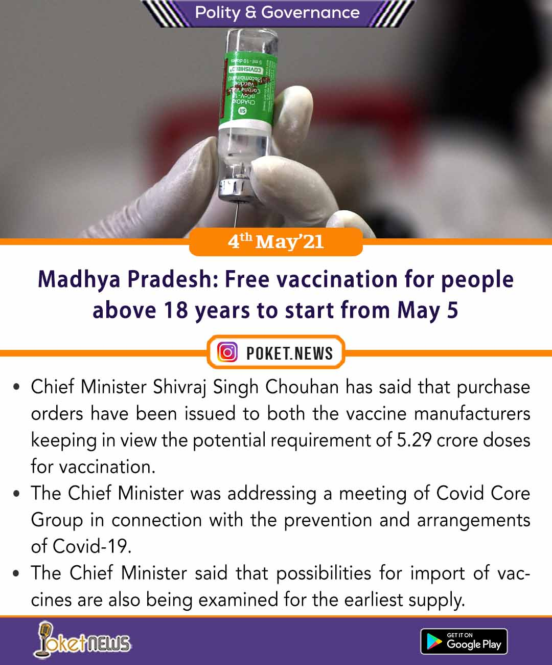 Madhya Pradesh: Free vaccination for people above 18 years to start from May 5
