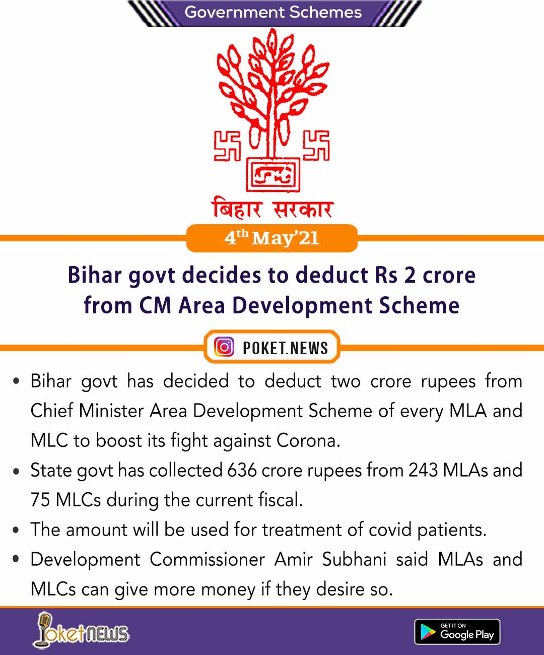 Bihar govt decides to deduct Rs 2 crore from CM Area Development Scheme