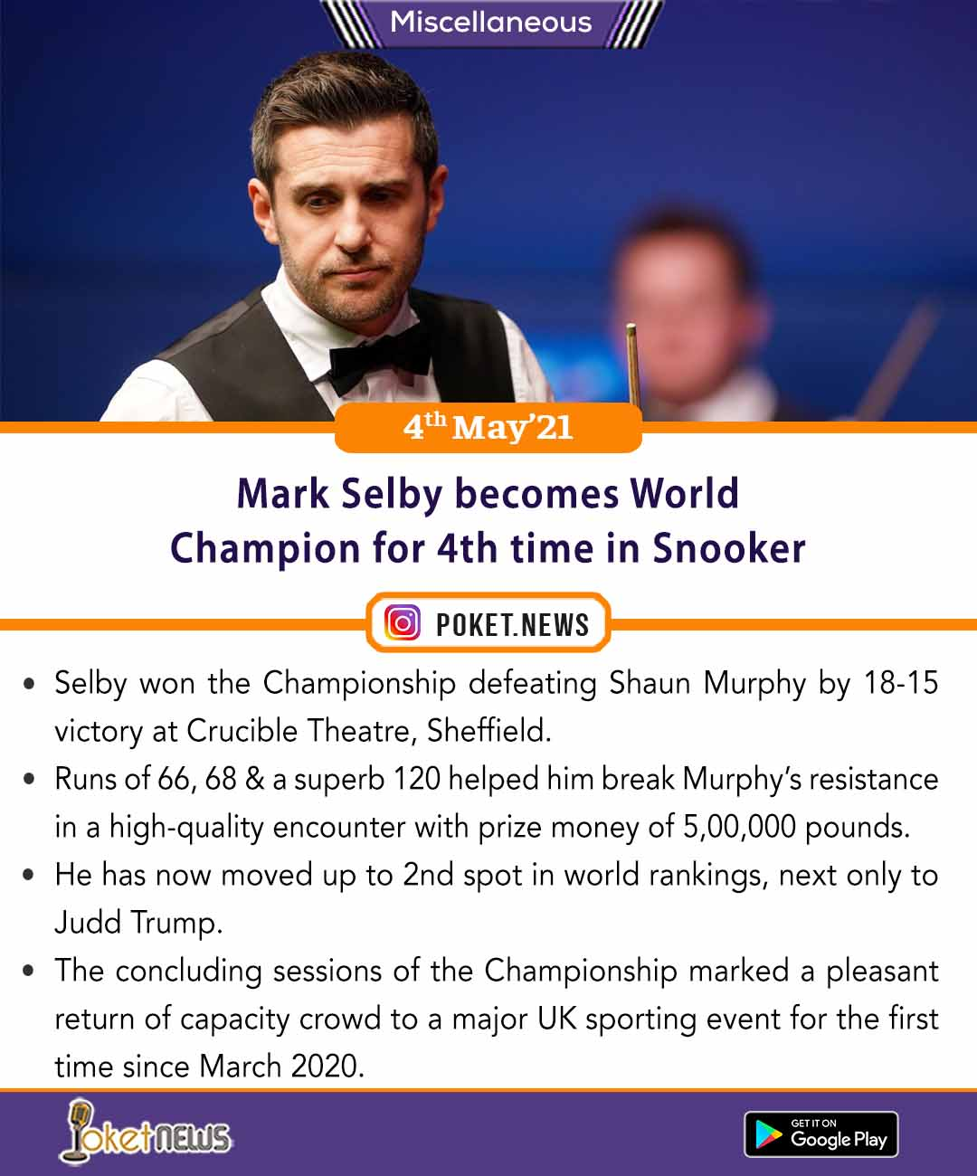 Mark Selby becomes World Champion for 4th time in Snooker