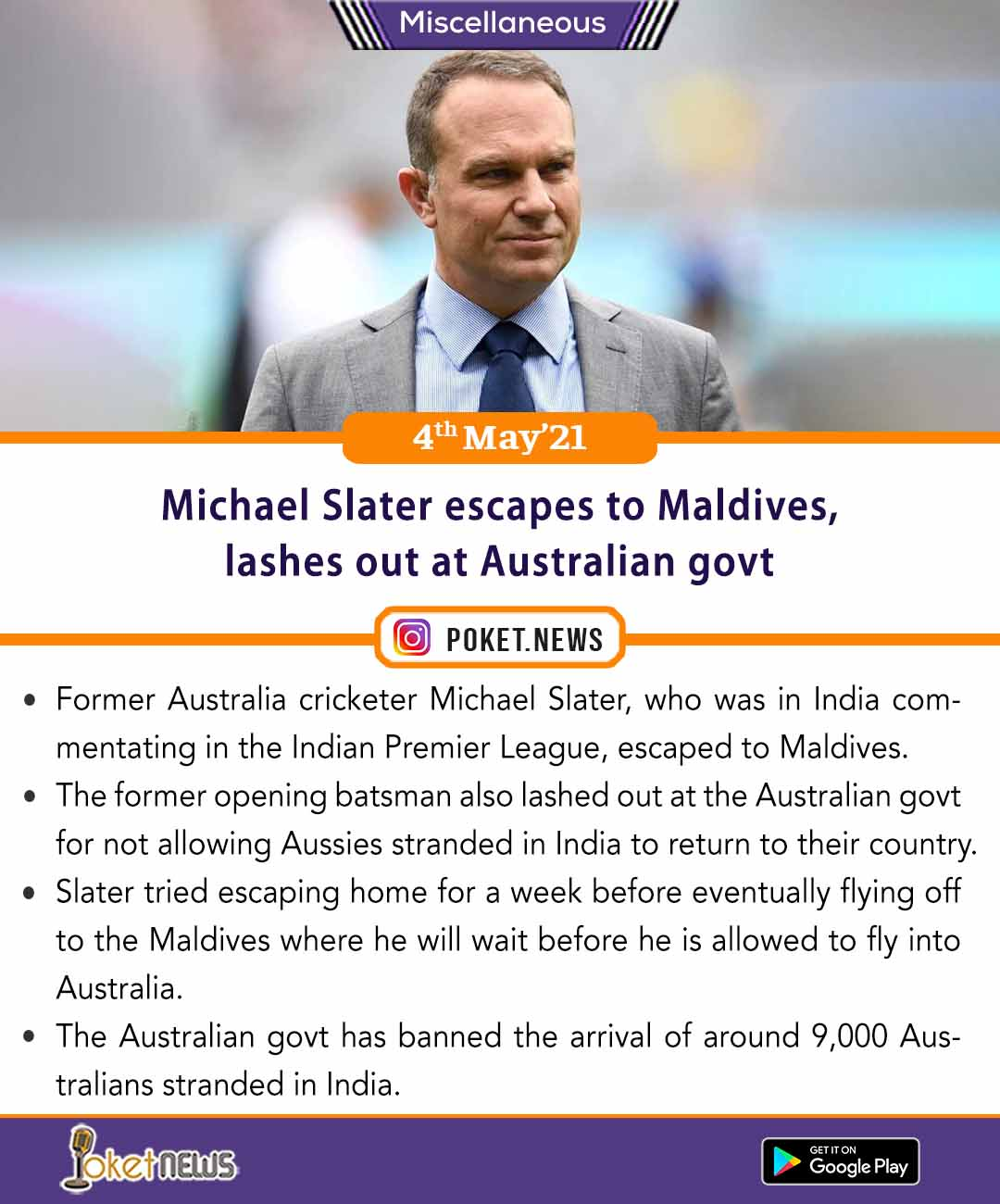 Michael Slater escapes to Maldives, lashes out at Australian govt