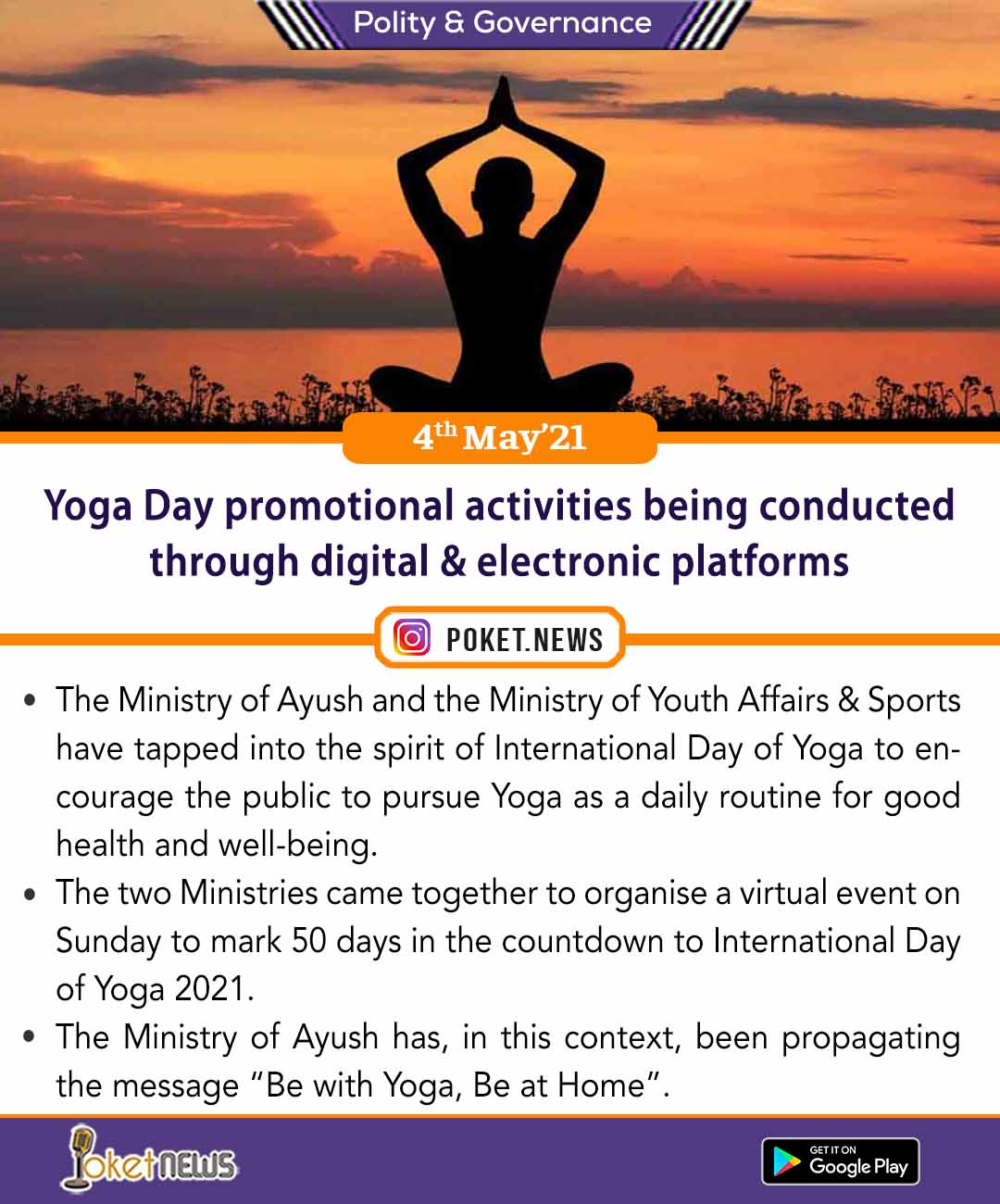Yoga Day promotional activities being conducted through digital & electronic platforms