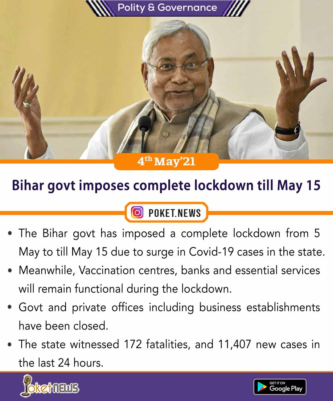 Bihar govt imposes complete lockdown till May 15