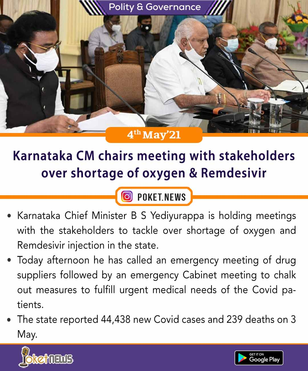 Karnataka CM chairs meeting with stakeholders over shortage of oxygen & Remdesivir