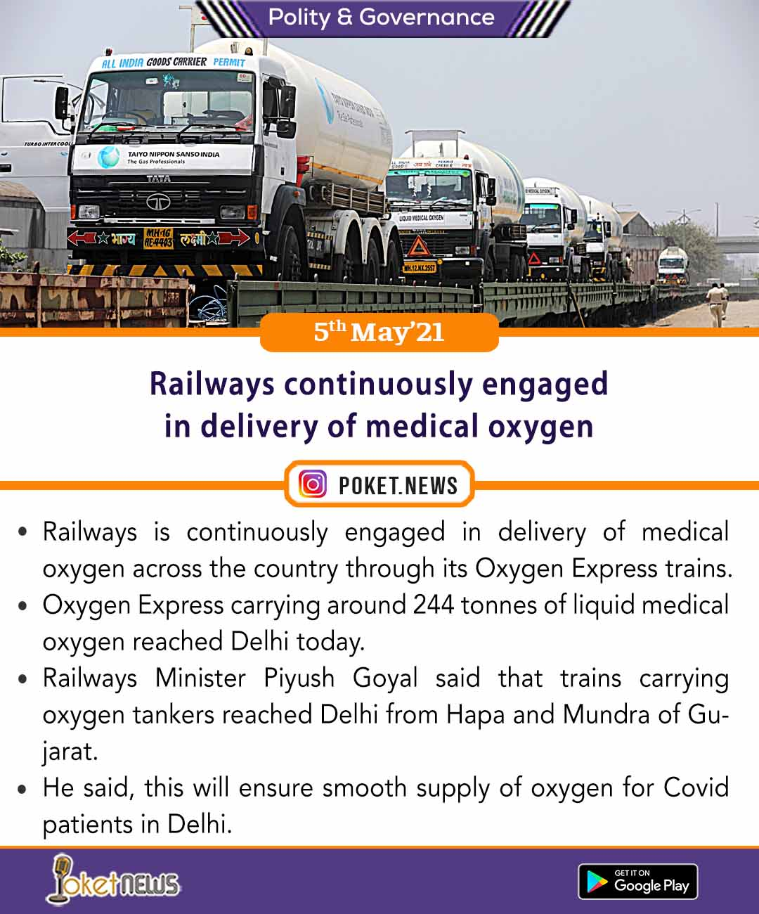 Railways continuously engaged in delivery of medical oxygen
