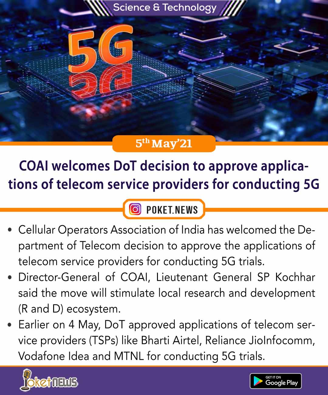 COAI welcomes DoT decision to approve applications of telecom service providers for conducting 5G trials