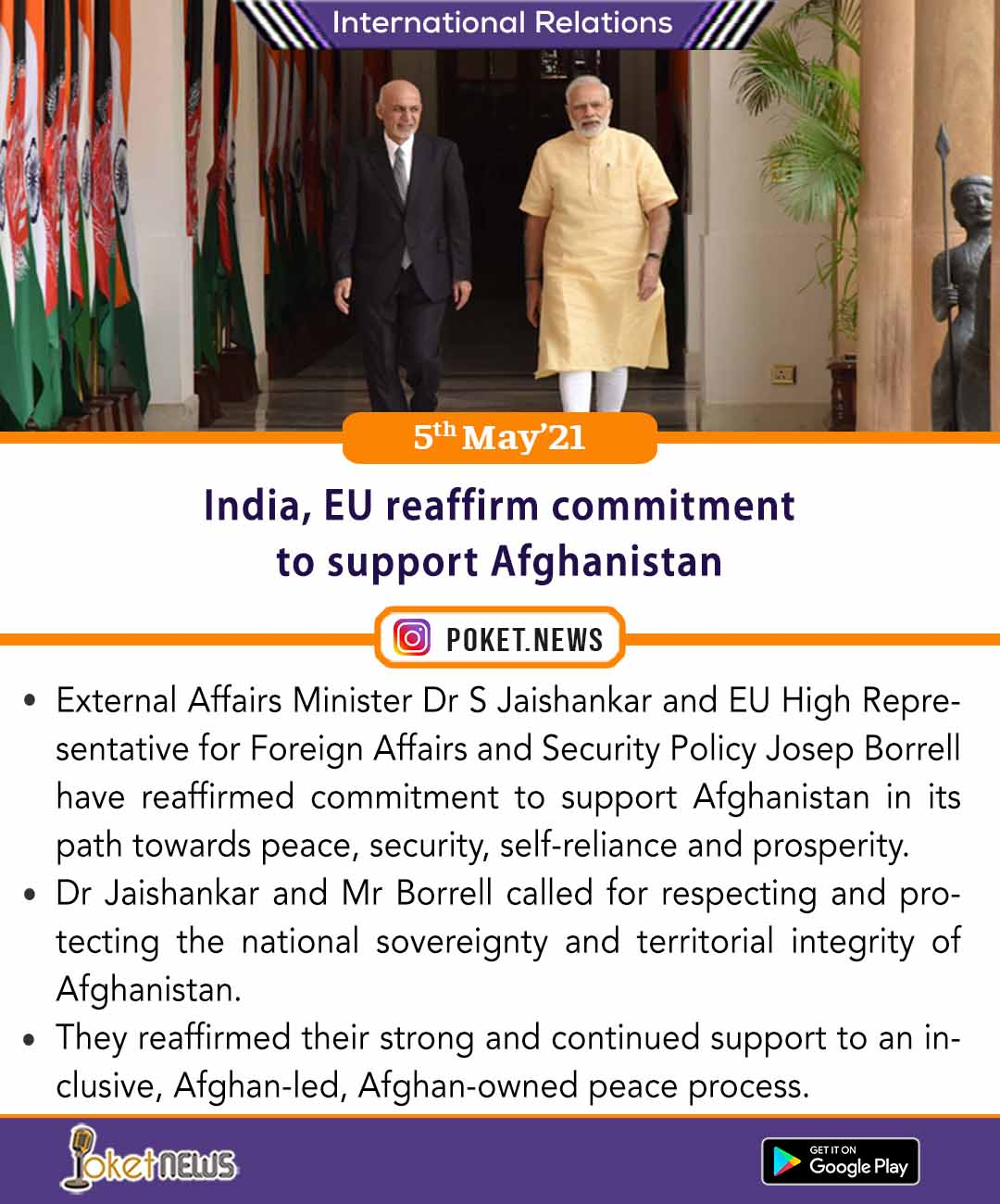 India, EU reaffirm commitment to support Afghanistan