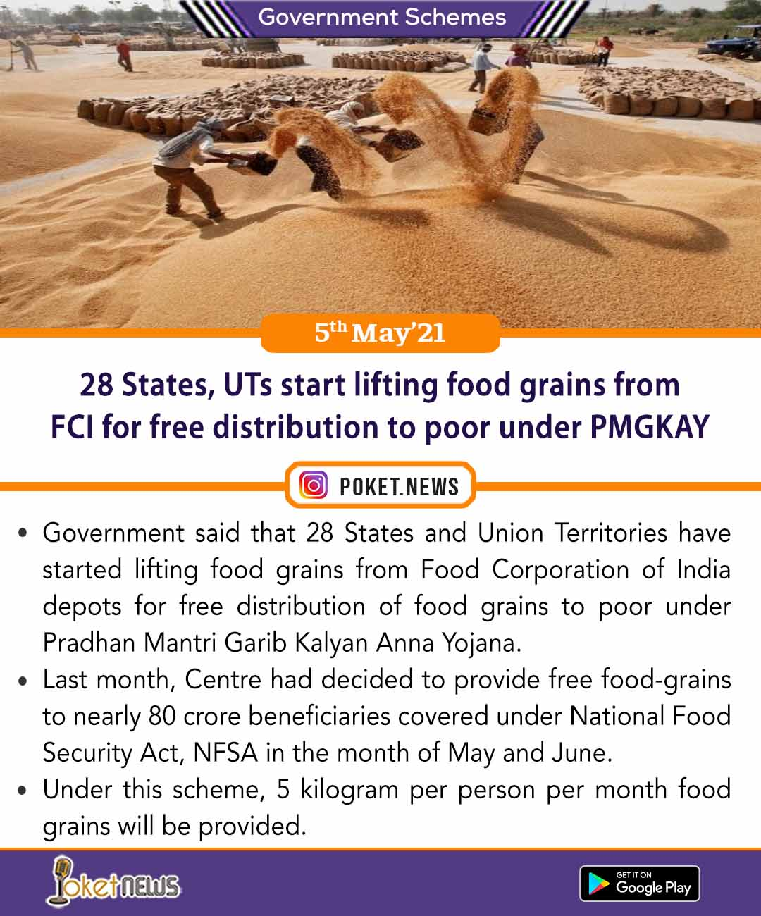 28 States, UTs start lifting food grains from FCI for free distribution to poor under PMGKAY